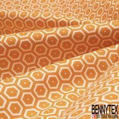 Coton Enduit Impression nid d'abeille orange