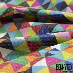 Coton Enduit Impression triangle multicolore