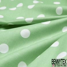 Coton Enduit Impression pois blanc cassé Fond vert pastel