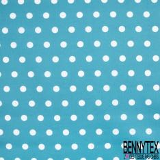 Coton Enduit Impression pois blanc cassé Fond turquoise