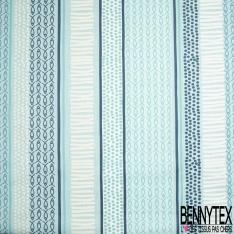 Coton Enduit Impression bande de rayure poisson trait et pois Fond bleu