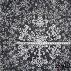 Coton Enduit Impression fleur mandala Fond noir et paillette