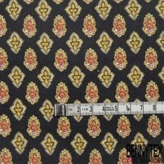 Coton Enduit Impression main fantaisie jaune Fond noir