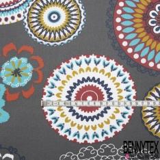 Coton Enduit Impression mandala multicolore Fond anthracite