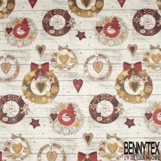 Coton Enduit Impression décoration d'hiver