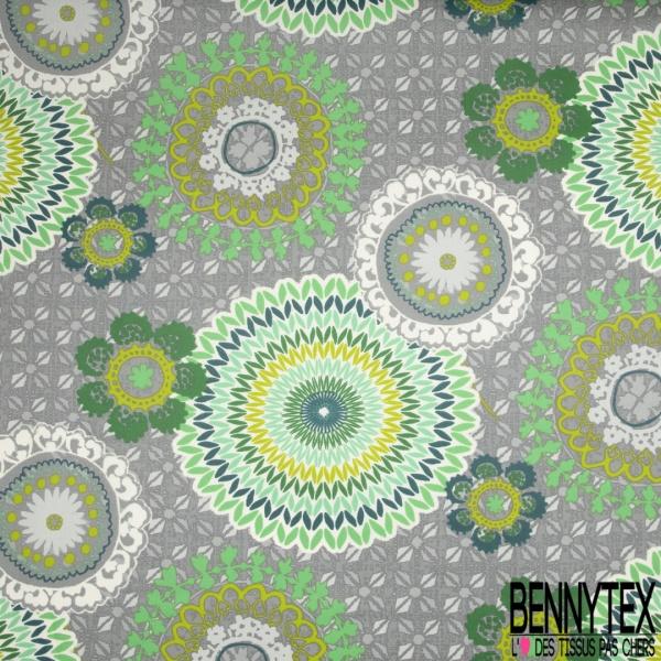 Coton Enduit Impression mandala ton vert Fond gris
