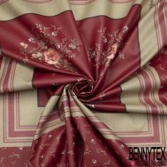 Panneau Coton Enduit Impression cerise et fleur encadré Fond rouge