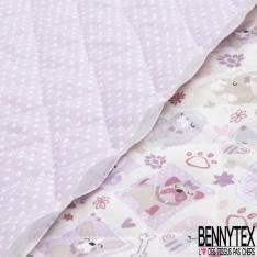 Coton Matelassé imprimé Recto cadre de chien Fond beige Verso petit coeur Fond lilas