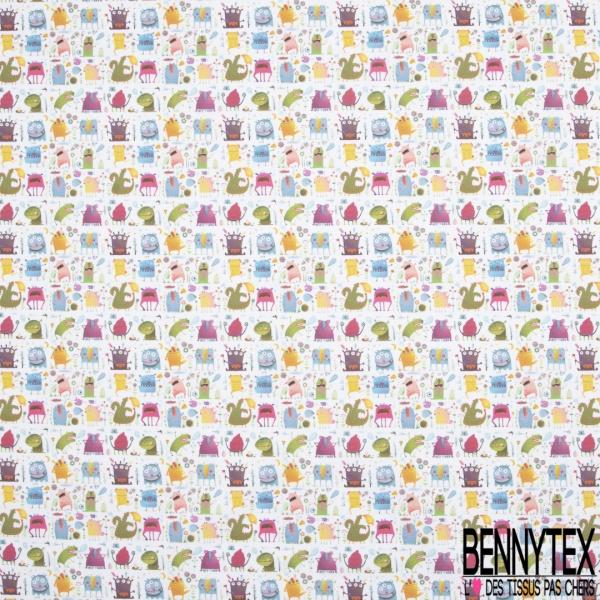 Coton imprimé Digital Thème Monstre Rigolo Enfantin Multicolore fond Blanc