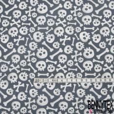Coton imprimé Digital Thème Tête de Mort Rigolote fond Anthracite