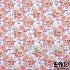 Coton imprimé Digital Thème Tête de Mort Coquette Glamour Florale fond Blanc