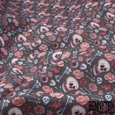 Coton imprimé Digital Thème Tête de Mort Avenante Festive fond Anthracite Floral