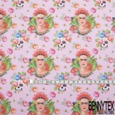 Coton imprimé Digital Thème Frida Kahlo Tête de Mort Calaveras Florale fond Candy