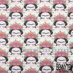 Coton imprimé Digital Thème Frida Kahlo Stylisée Endormie fond Ecru