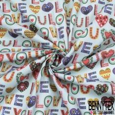 Coton imprimé Digital Thème I Love You Fantaisie Multicolore fond Bleu Givré