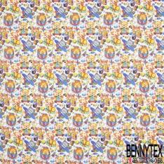 Coton imprimé Digital Thème Bébé Félin Rigolo et Jouet Multicolore fond Blanc Cassé