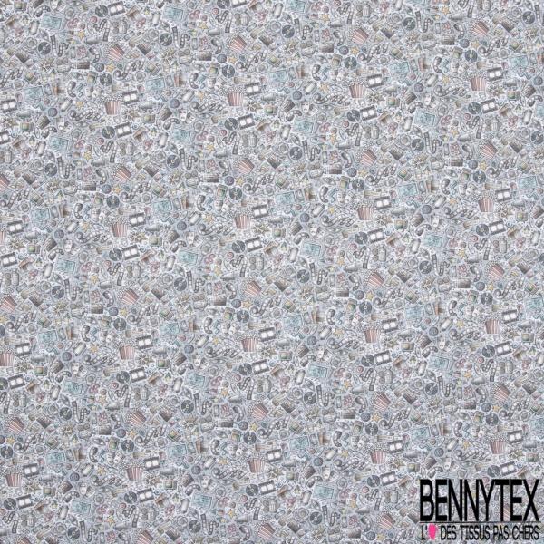 Coton imprimé Digital Thème Septième Art Foisonnant fond Dégradé Gris Blanc