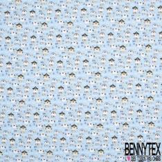 Coton imprimé Digital Thème Petit Eléphant Enguirlandé Multicolore fond Blanc Cassé
