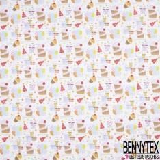 Coton imprimé Digital Thème Petit Cup Cakes Multicolore fond Gris Perle Fantaisie