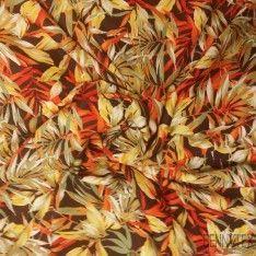 Néoprène Imprimé feuilles tropicales Rouge Orange Fond Noir