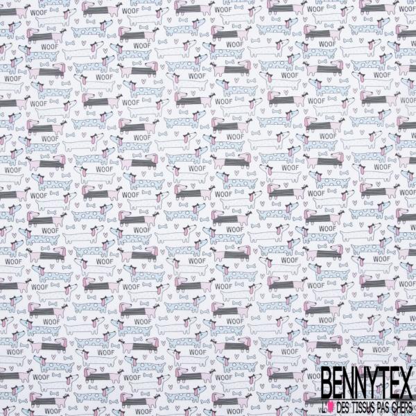 Coton imprimé Digital Thème Anniversaire Cup Cakes Ballon Cadeau Multicolore fond Blanc Cassé