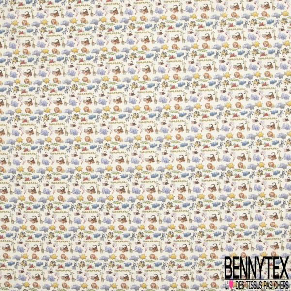Coton imprimé Digital Thème Petits Animaux de la Forêt fond Blanc Cassé