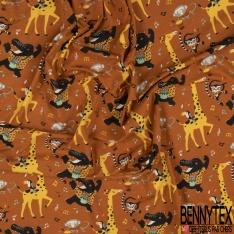 Jersey Coton Elasthanne Imprimé Animaux de la Jungle en Vacance à la Mer fond Ciel Fleuri