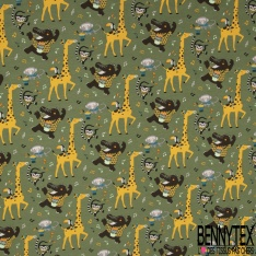 Jersey Coton Elasthanne Imprimé Danse Africaine des Animaux Sauvages fond Roux