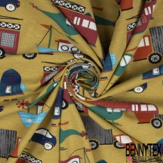 Jersey Coton Elasthanne Imprimé Animaux de la Jungle en Vacance à la Mer fond Mastique Fleuri