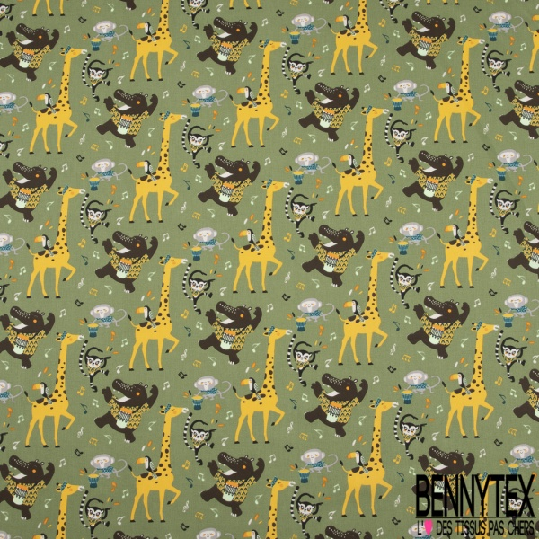 Coton imprimé Foule Danse Africaine des Animaux Sauvages fond Olive