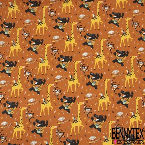 Coton imprimé Foule Danse Africaine des Animaux Sauvages fond Roux