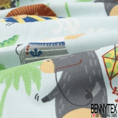 Coton imprimé Foule Animaux de la Jungle en Vacance à la Mer fond Ciel Fleuri