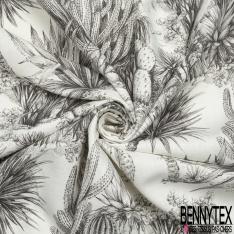 Toile Lin imprimé Motif Désert et Végétation Mexicaine fond Blanc Cassé