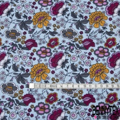 Coton imprimé Fleurs Cachemire ton Camaïeu de Fushia