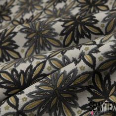 Coton imprimé Floral Kaléidoscope ton Turquoise fond Jaune Pastel