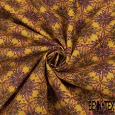 Coton imprimé Floral Kaléidoscope ton Ocre fond Moutarde