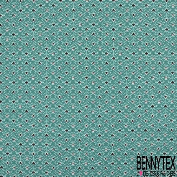 Coton imprimé Japonisant Demi Fleur Turquoise