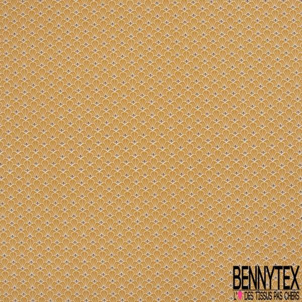 Coton imprimé Japonisant Demi Fleur Moutarde