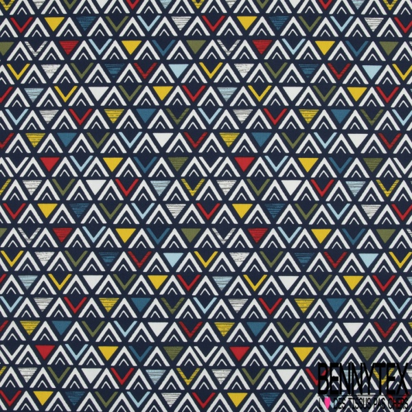 Coton imprimé Triangle Fantaisie Multicolore fond Marine