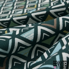 Coton imprimé Triangle Fantaisie Multicolore fond Vert Impérial