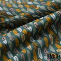 Coton imprimé Plume Fantaisie Multicolore fond Vert Bouteille