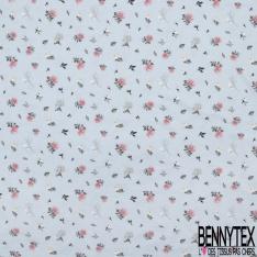 Jersey Coton Elasthanne Imprimé Petite Fleur Champêtre fond Ciel