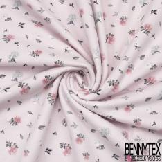 Jersey Coton Elasthanne Imprimé Petite Fleur Champêtre fond Rose Pastel
