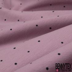 Jersey Coton Elasthanne Imprimé Plumetis Noir fond Vieux Rose Poudré