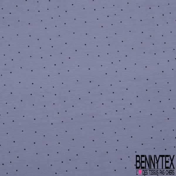 Jersey Coton Elasthanne Imprimé Plumetis Noir fond Lavande
