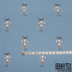 Jersey Coton Elasthanne Imprimé Petite Lapine Danseuse Etoile fond Indigo