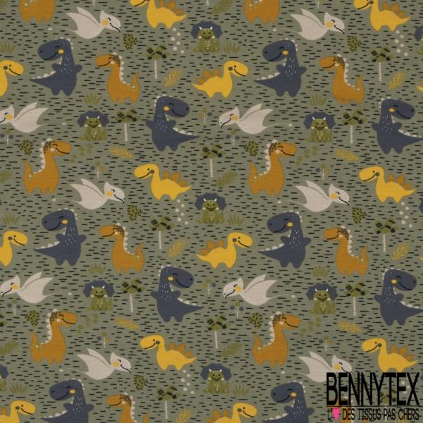 Jersey Coton Elasthanne Imprimé Petit Dinosaure en Folie dans la Clairière Kaki