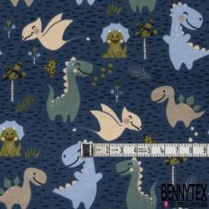 Jersey Coton Elasthanne Imprimé Petit Dinosaure en Folie dans la Clairière Marine