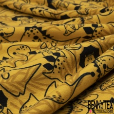 Jersey Coton Elasthanne Imprimé Préhistoire en Folie fond Jaune Or