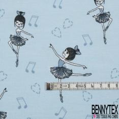 Jersey Coton Elasthanne Imprimé Ballerine fond Coeur et Note de Musique Bleu
